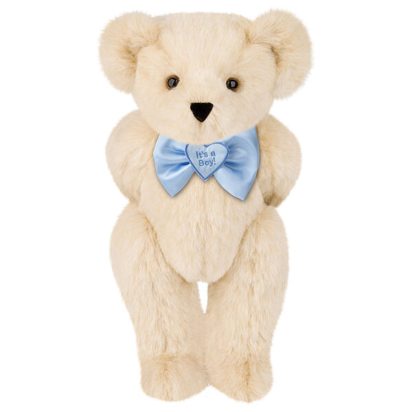 "15"" ""It's a Boy!"" Bow Tie Bear - Standing jointed bear dressed in light blue satin bow tie with ""It's a Boy!"" is embroidered on heart center - Buttercream brown fur image number 1"