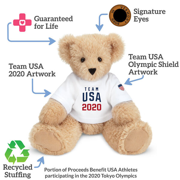"""13"""" Butterscotch Team USA 2020 T-Shirt Bear - Front view; text reads, """"Guaranteed for Life, Signature Eyes, Team USA Olympic Shield, Team USA 2020 Artwork; Recycled Stuffing"""". Portion of Proceeds Benefit USA Athletes participating in Tokyo Olympics image number 1"""