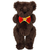 "15"" ""Happy Birthday"" Bow Tie Bear - Standing jointed bear dressed in red bow tie with yellow trim; ""Happy Birthday"" is embroidered on Star center - long Espresso brown fur image number 7"