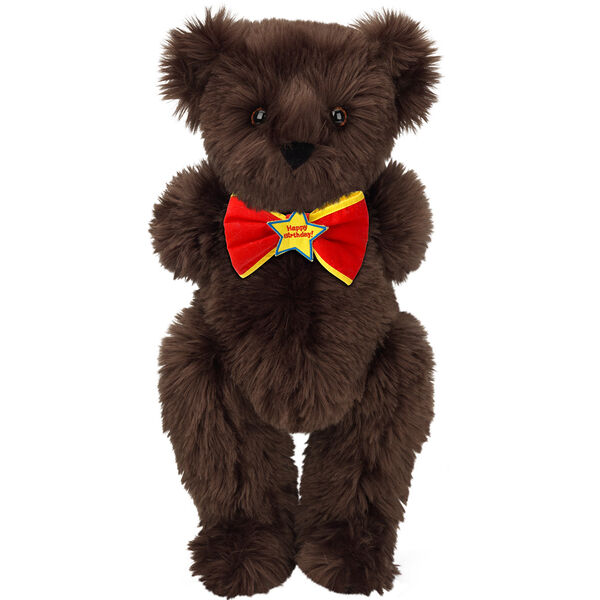 "15"" ""Happy Birthday"" Bow Tie Bear - Standing jointed bear dressed in red bow tie with yellow trim; ""Happy Birthday"" is embroidered on Star center - long Espresso brown fur image number 3"