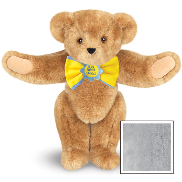 """15"""" """"Get Well"""" Bow Tie Bear - Standing jointed bear dressed in yellow bow tie with blue trim; """"Get Well Soon"""" is embroidered on floral center - Gray image number 4"""