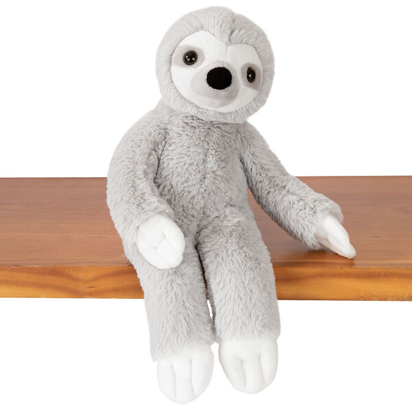 "15"" Buddy Sloth - Front view of slim gray and white Sloth sitting on shelf image number 4"