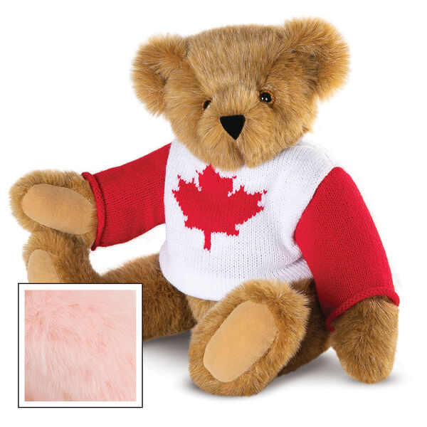 """15"""" Maple Leaf Sweater Bear - Three quarter view of seated jointed bear dressed in white knit sweater with red maple leaf on front and red sleeves  - Pink image number 7"""