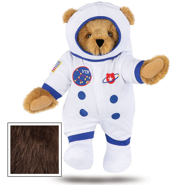 """15"""" Astronaut Bear - Standing jointed bear dressed in white space suit, boots and helmet with blue trim, embroidered patches and American flag - Espresso brown fur image number 9"""