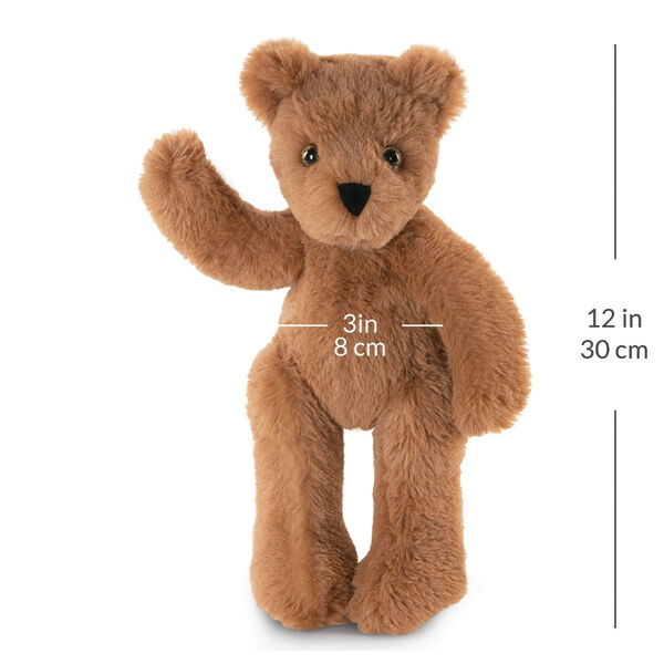 "12"" Buddy Bear -  Slim honey colored bear standing and waving with its right arm. Measurement show that it is 12 in or 30 cm tall and 3 in or 8 cm across its belly image number 5"