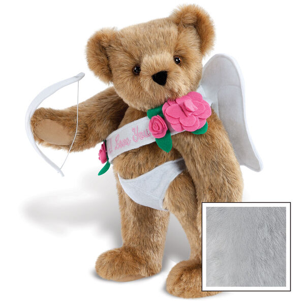 """15"""" Cupid Bear - Three quarter view of standing jointed bear dressed in white diaper, white sash with pink flowers and holding a cupid bow. Sash says """"I Love You"""" - Gray image number 4"""