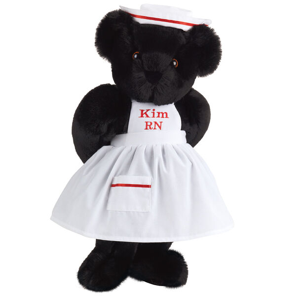 """15"""" Nurse Bear - Front view of standing jointed bear dressed in white nurse's dress and hat with red trim perosnlized with """"Kim RN"""" on bib of dress in red - Black fur image number 3"""