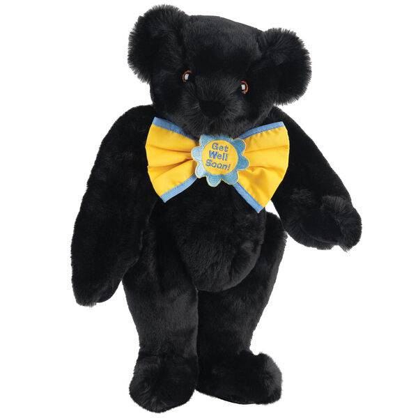"""15"""" """"Get Well"""" Bow Tie Bear - Standing jointed bear dressed in yellow bow tie with blue trim; """"Get Well Soon"""" is embroidered on floral center - Black Fur image number 3"""