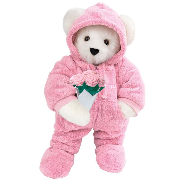 """15"""" Hoodie Footie Bear with Roses - Front view of standing jointed bear dressed in pink hoodie footie and holding pink bouquet of roses personalized with """"Emily"""" in white on left chest - Vanilla white fur image number 2"""