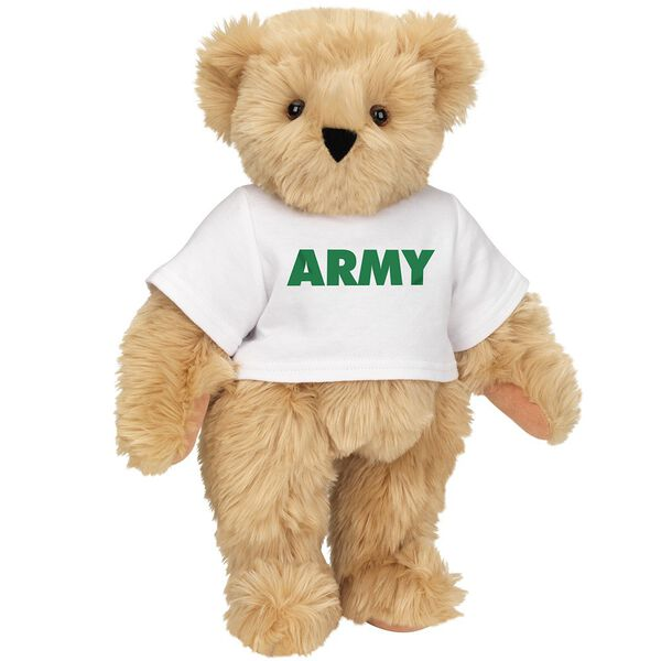 "15"" Army T-Shirt Bear - Standing jointed bear dressed in a white t-shirt says, ""ARMY"" in green lettering on the front of the shirt - Maple brown fur image number 5"
