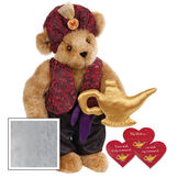 """15"""" Your Wish Is My Command Bear - Front view of standing jointed bear dressed in a red brocade turban and vest, purple belt and black satin pants. Comes with gold genie lamp and 3 wish cards - Gray image number 4"""
