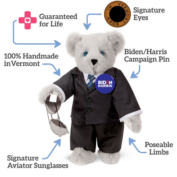 "15"" Joe Biden Bear - Standing Gray Bear with Blue eyes, black suit with text that says,""Guaranteed for Life; Signature Eyes; Biden/Harris Campaign Pin; Poseable Limbs; Signature Aviator Sunglasses; 100% Handmade in Vermont."" image number 3"