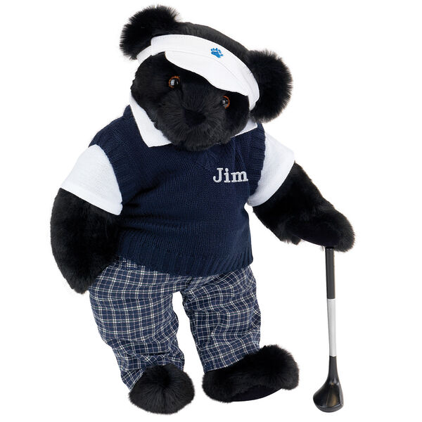 """15"""" Golfer Bear - Standing jointed bear in blue plaid pants, white polo shirt, dark blue vest and white visor holding a golf club - Black image number 3"""