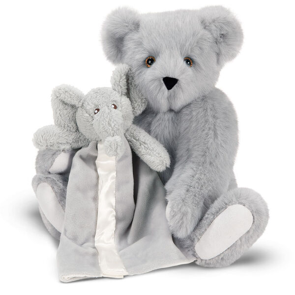 "15"" Cuddle Buddies Gift Set with Elephant Blanket - 15"" jointed seated bear with gray elephant blanket - Gray fur image number 5"