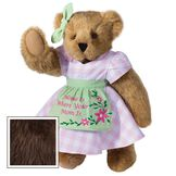 """15"""" Home Is Where Your Mom Is Bear - Front view of standing jointed bear wearing a pink gingham dress, green bow and apron with floral embroidery and says """"Home is Where Your Mom Is"""" - Espresso brown fur image number 7"""