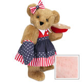 """15"""" All American Mom Bear - Standing jointed bear in a red, white and blue stars and stripes dress with matching head bow and oven mitt holding an apple pie - Pink image number 5"""