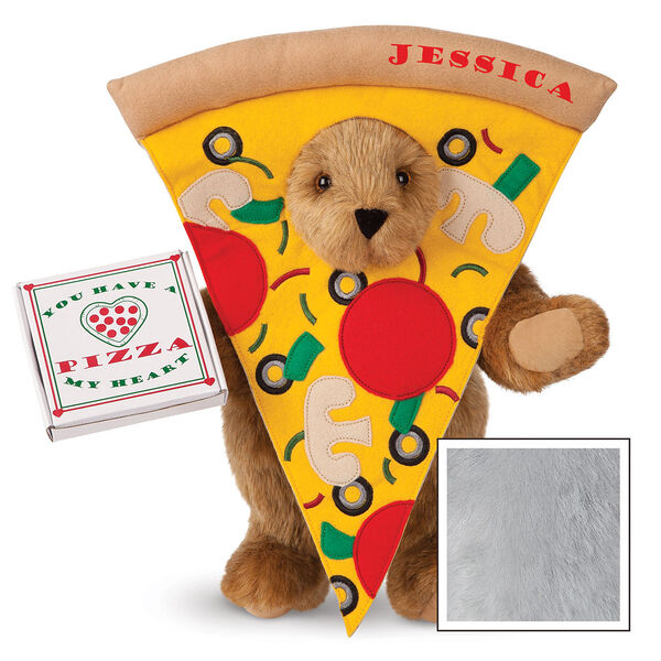 """15"""" Pizza My Heart Bear - Front view of standing jointed bear dressed in a pizza slive costume holding a pizza box that says """"You have a pizza my heart"""", personalized with """"Jessica"""" on the crust in red - Gray image number 4"""