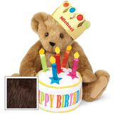 "15"" Happy Birthday Bear - Front view of seated jointed bear dressed in a gold crown with appliqued jewels holding a birthday cake with candles that says ""Happy Birthday"". Crown is personalized with ""Michael"" in red lettering - Espresso brown fur image number 5"
