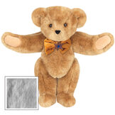 """15"""" Jewish Classic Bear - Front view of standing jointed bear dressed in gold velvet bow tie with Star of David in center - Gray fur image number 4"""