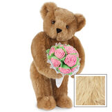 """15"""" Pink Rose Bouquet Teddy Bear - Front view of standing jointed bear holding a large pink bouquet wrapped in white satin and lace - Maple image number 7"""