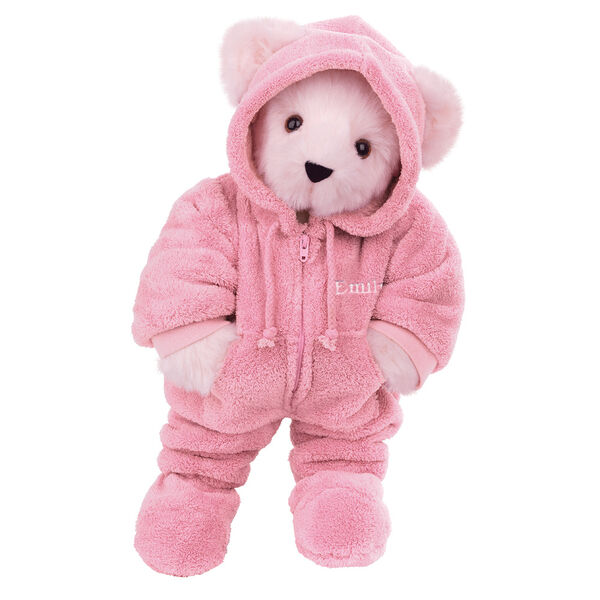 """15"""" Hoodie Footie Bear - Front view of standing jointed bear dressed in pink hoodie footie personalized with """"Emily"""" in white on left chest - Pink fur image number 6"""