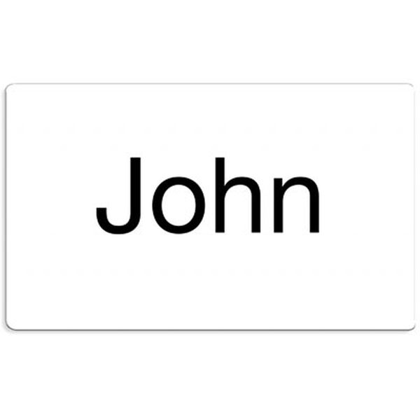 """Name tag- white plastic name tag with pin closure for 15"""" classic bears image number 0"""