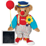 "15"" Clown Bear - Standing jointed bear dressed in dot pants with suspenders and daisy, red and blue shirt, blue hat, red clown shoes, and holds  red fabric balloon made personalized with ""John"" in white on shirt's center front - Black fur image number 3"