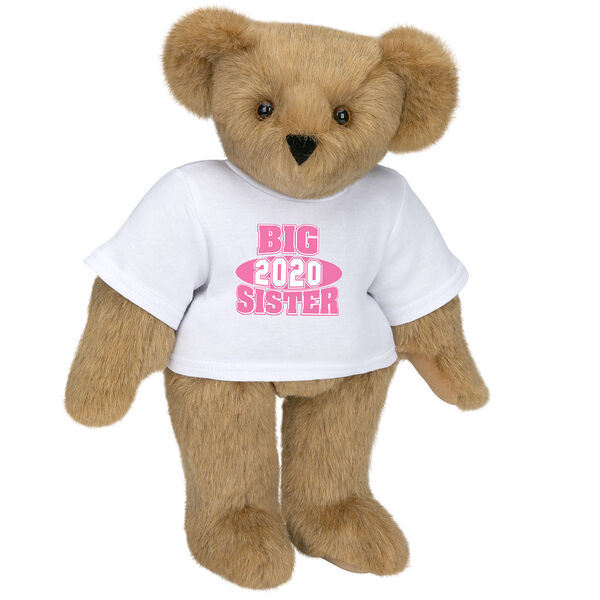 """15"""" 2020 Big Sister T-Shirt Bear - Standing jointed bear dressed in a white t-shirt with bright pink and white artwork that says, """"Big Sister 2020"""" on the front of the shirt - Honey brown fur image number 0"""