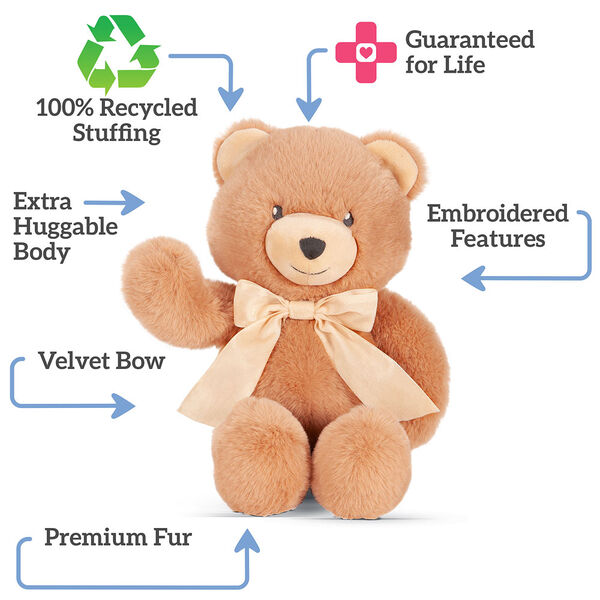 "13"" Cuddle Cub Bear with Bow - Front view of golden bear and cream velvet bow  with text that says, ""100"" Recycled Stuffing; Guaranteed for Life; Embroidered Features; Extra Huggable Body; Premium Fur; Velvet Bow"" image number 1"