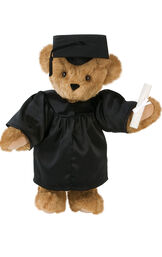 """15"""" Graduation Bear in Black Gown - Front view of standing jointed bear dressed in black satin graduation gown and cap and holding a rolled up diploma.  - Honey brown fur image number 7"""