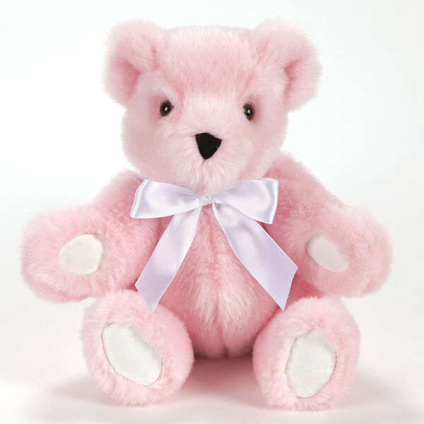 """11"""" New Baby Bear, Pink: Seated pink bear with white paw pads, brown eyes and white satin bow around neck image number 0"""