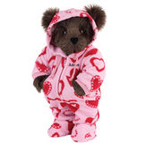 "15"" Hoodie-Footie Sweetheart Bear - Front view of standing jointed bear dressed in pink hoodie footie with red heart patternpersonalized with ""Anne"" in black on left chest - Espresso brown fur image number 5"