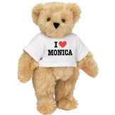 "15"" ""I HEART You"" Personalized T-Shirt Bear - Standing Jointed Bear in white t-shirt that says I ""Heart"" You in black and red lettering - long Maple brown fur image number 2"