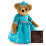 """15"""" Winterland Queen Bear - Three quarter view of standing jointed bear dressed in a blue dress with silver star tulle overlay and silver lace trim and blue and silver tiara - Espresso image number 10"""