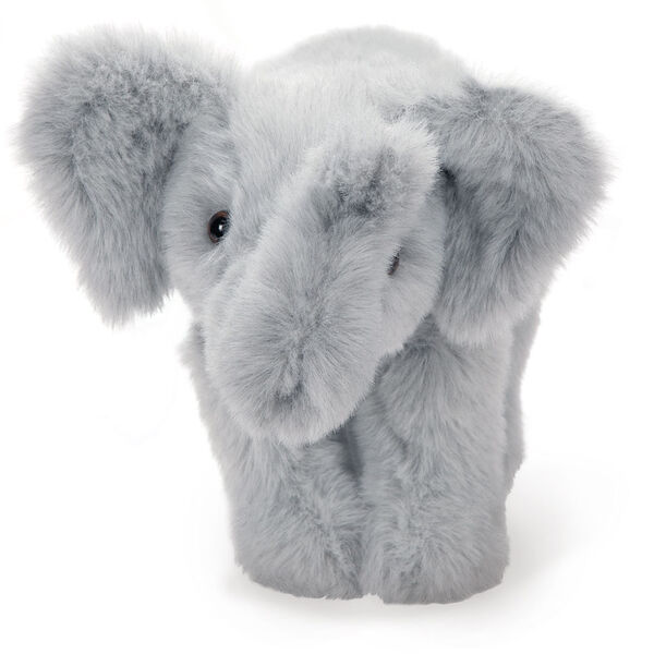 """15"""" Classic Elephant - Front view of standing gray plush elephant with upturned trunk and pink mouth.  image number 1"""