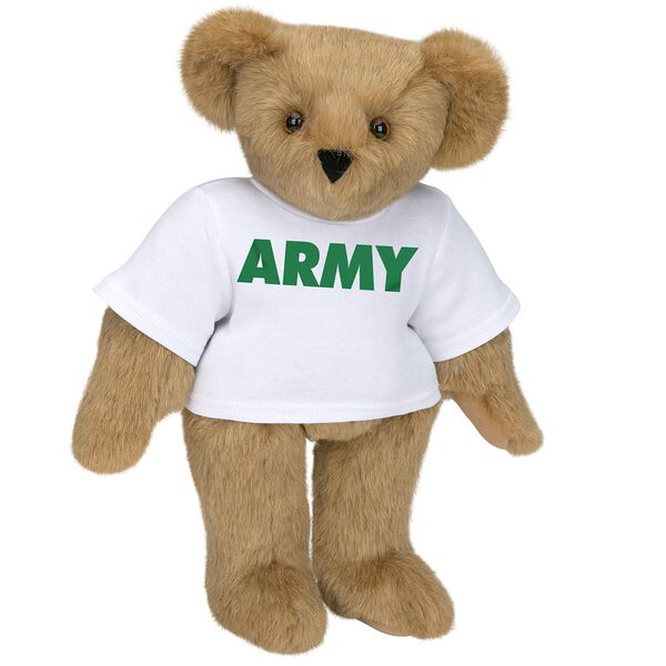 "15"" Army T-Shirt Bear - Standing jointed bear dressed in a white t-shirt says, ""ARMY"" in green lettering on the front of the shirt - Honey brown fur image number 0"