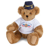 """15"""" The American Legion Bear - Front view of seated jointed bear dressed in a white t-shirt and navy hat with American Legion logos - Honey brown fur image number 0"""