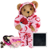 """15"""" Sweetheart Hoodie-Footie Bear with Red Roses and Chocolates - Standing jointed bear dressed in pink and red heart hoodie footie with rose bouquet and 6 pc. chocolates. Personalized with """"Anne"""" in black on left chest - Black image number 3"""