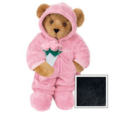 """15"""" Hoodie Footie Bear with Roses - Front view of standing jointed bear dressed in pink hoodie footie and holding pink bouquet of roses personalized with """"Emily"""" in white on left chest - Black  image number 3"""