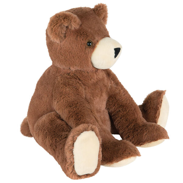 "18"" Softies Bear - Side view of seated 18"" german chocolate bear has paws out in front image number 2"