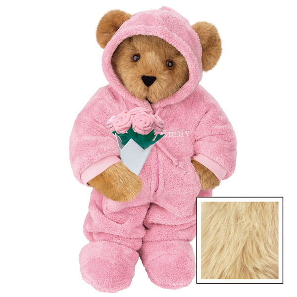 """15"""" Hoodie Footie Bear with Roses - Front view of standing jointed bear dressed in pink hoodie footie and holding pink bouquet of roses personalized with """"Emily"""" in white on left chest - Maple image number 6"""