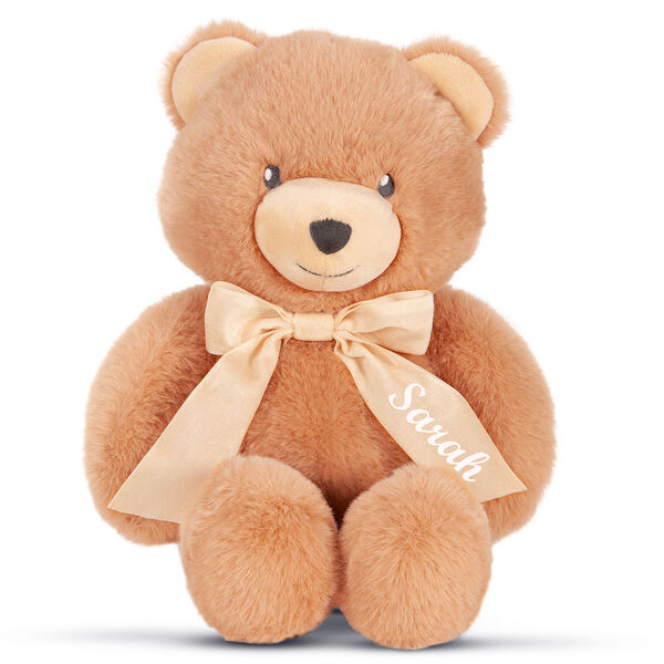 "13"" Cuddle Cub Bear with Bow - Front view of golden bear with tan muzzle and cream velvet bow image number 0"