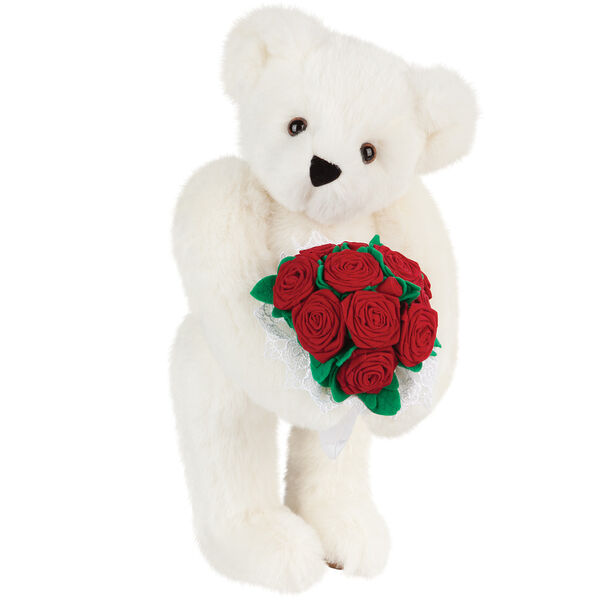 """15"""" Red Rose Bouquet Bear - Front view of standing jointed bear holding a large red bouquet wrapped in white satin and lace - Vanilla white fur image number 2"""