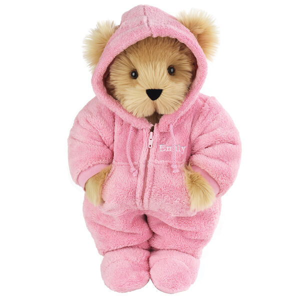 "15"" Hoodie Footie Bear - Front view of standing jointed bear dressed in pink hoodie footie personalized with ""Emily"" in white on left chest - Maple brown fur"