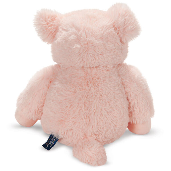 """18"""" Oh So Soft Pig -Back view of seated soft plush pink pig with brown eyes and right ear folded down image number 5"""