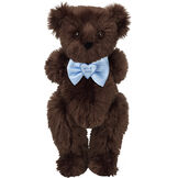 "15"" ""It's a Boy!"" Bow Tie Bear - Standing jointed bear dressed in light blue satin bow tie with ""It's a Boy!"" is embroidered on heart center - long Espresso brown fur image number 6"