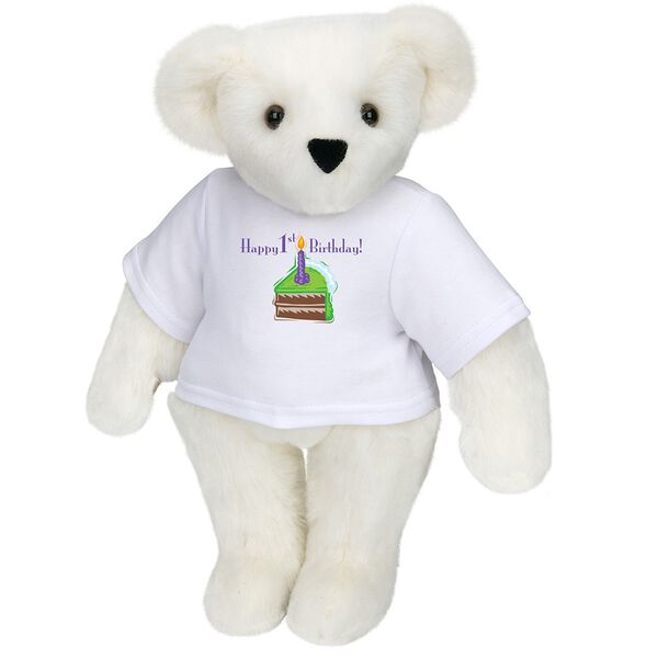 """15"""" 1st Birthday T-Shirt Bear-Chocolate Cake - Standing jointed bear dressed in a white t-shirt with a slice of chocolate cake artwork that says, """"Happy 1st Birthday!"""" on the front of the shirt - Vanilla white fur image number 2"""
