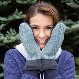 Bernie Mittens - Model wearing Adult One Size Assorted multi colored wool blend mittens with fleece lining image number 1
