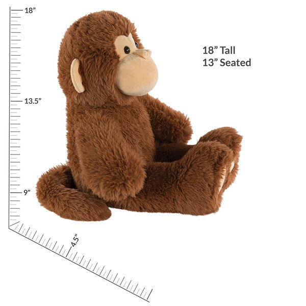 """18"""" Oh So Soft Monkey - Front view of seated 18"""" cinnamon brown monkey with tail and tan ears, muzzle and foot pads measuring 18 in or 45 cm tall when standing image number 4"""