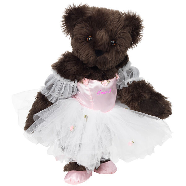 """15"""" Ballerina Bear - Standing jointed bear dressed in pink satin and tulle dress and ballet slippers. Center front of dress is personalized with """"Hannah"""" in bright pink lettering - Espresso brown fur image number 5"""